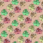 Castle seamless vector pattern illustration — Vetor de Stock