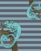 Chameleon card vector illustration — Stock Vector