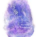 United Kingdom vector watercolor map illustration — Stock Vector #68229375
