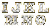 English i j k l m n o gold text vector illustration — Stock Vector