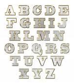 English alphabet gold text vector illustration — Stock Vector