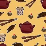 Chinese tea ceremony vector pattern illustration — Stock Vector #71733647