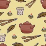 Chinese tea ceremony vector pattern illustration — Stock Vector #71733729