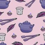 Chinese tea ceremony vector pattern illustration — Stock Vector #71733841