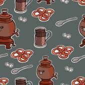 Rosyjski herbata uroczystość wektor wzór ilustracja — Wektor stockowy