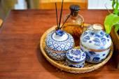Thai traditional ceramic bowls — Stock Photo