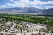 Ladakh valley and himalaya range in background — Stock Photo