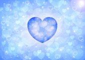 Blue heart bokeh — Stock Photo