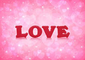Love word on light pink heart bokeh background — Stock Photo