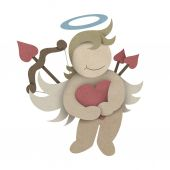 Cupid hug love heart made by recycled paper craft — Stockfoto