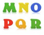 Alfabeto de cor multi inglês com traçado de recorte — Fotografia Stock