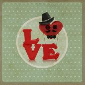 Love heart air balloon man character on vintage background — Stock fotografie
