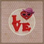 Love heart air balloon woman character on vintage background — Stock fotografie