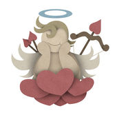 Cupid sit on heart cloud made from recycled paper craft — Stock Photo