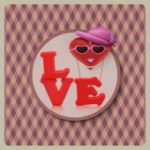 Love heart air balloon woman character on vintage background — Stock Photo