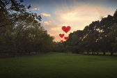 Heart shape air balloon on sky in park — Stock Photo