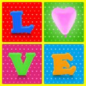 Colorful love alphabet and pink balloon on pop art background — Foto Stock