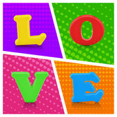Colorful love alphabet on pop art background — Stock Photo