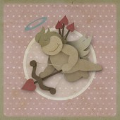 Cupid shoot bow love heart on vintage background, recycled paper — Stock Photo