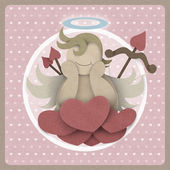 Cupid sit on heart love could on retro background, recycled pape — Zdjęcie stockowe