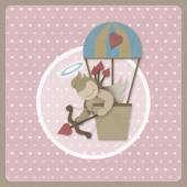 Cupid shoot bow in hot air balloon retro background, recycled pa — ストック写真