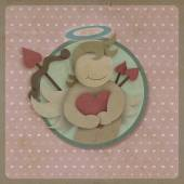 Cupid hug red love heart on retro background, recycled paper cra — Stock Photo