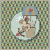 Cupid shoot bow in hot air balloon retro background, recycled pa — Zdjęcie stockowe