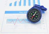 Blue compass on graph paper, Business concept — Stock Photo