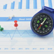 Blue compass and pin on graph paper, success concept — Stock Photo #70209173