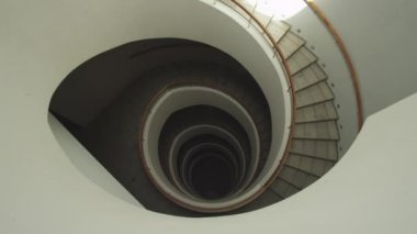 Top view square spiral staircase — Stock video