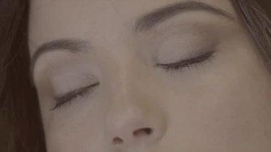 Girl Eyes Opening — Stock Video