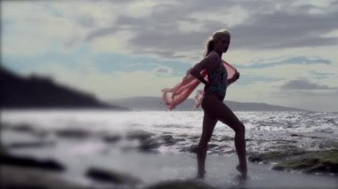 Woman On Beach With Silk — Stock Video