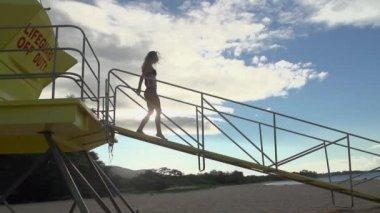 Model In Swimsuit In Rio De Janeiro — Stock Video