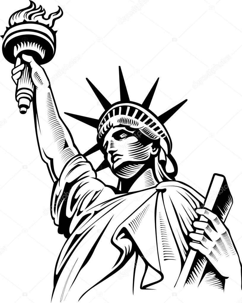 Line Art New York : Statue de la liberté new york usa — image vectorielle