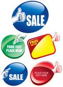Sale sticker with gesture hand — Stock Vector