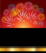 Red background with different color of fireworks — Stock Vector