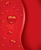 Red water drops with heart shape and place for text — Vector de stock
