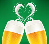 Romantic couple beer with foam like heart — Stock Vector