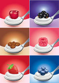 Fresh fruit on spoon with cream and yogurt — Vector de stock