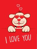 Valentine card lovely dog with sunglasses like heart — Stock vektor