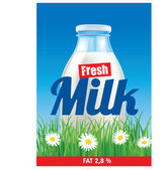 Label for milk bottle on grass field — Stock Vector