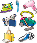 Iron, vacuum cleaner, hair dryer, video camera, shaver, toaster housework cartoons — Stock Vector