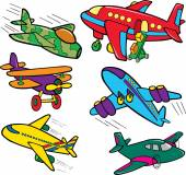 Cartoon airplanes. Funny vector characters, isolated objects — Stock Vector