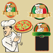 Chef with Cook hot pizza. — Stock Vector