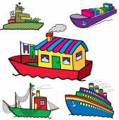 Set of vector colorful sea transport ships cartoons — Stock Vector