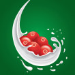 Milk splash with cranberry fruit on green background — Stock Vector #65530847
