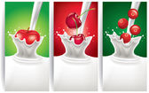 Milk splash with apple, cherry, cranberry — Stock Vector
