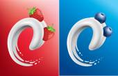 Milk splash like tongue with strawberry, raspberry, blueberry — Stock Vector