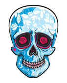 Skull with floral shapes — Stock Vector