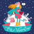 Stylish Valentine's day greeting card in vector. — Stock Vector #60703397